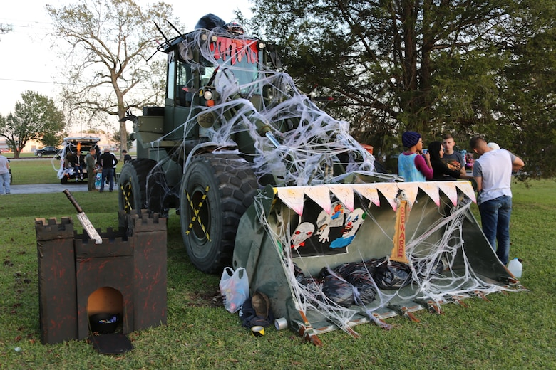 A truck is decorated with during a Trunk or Treat event aboard Marine Corps Air Station Cherry Point, N.C., Oct. 27, 2016. Marine Corps Community Services hosted the Halloween-inspired event that included face painting; touch the truck displays; and a family glow dance party. Decorated trunks were judged and the highest-rated contestants received door prizes. (U.S. Marine Corps photo by Cpl. Jason Jimenez/Released)