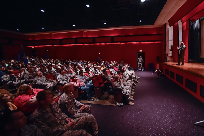Brig. Gen. Richard G. Moore Jr., 86th Airlift Wing commander from Ramstein Air Base, Germany, speaks to Airmen during an all call at Lajes Field, Azores, Portugal, Oct. 5, 2016. Leaders from the 86th Airlift Wing, at Ramstein Air Base, Germany, visited Airmen at Lajes to thank them for their service and tour the base. (U.S. Air Force photo by Senior Airman Nicole Keim)