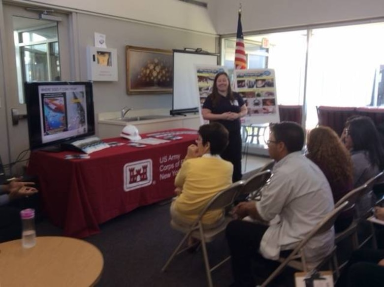 Amanda Switzer, project manager, U.S. Army Corps of Engineers, New York District, talked to students about the importance of an estuary, USACE environmental contributions in sustaining a world-class estuary, and science, technology, engineering, and mathematics (STEM), for the 16th Annual Estuary Day in Elizabeth, N.J.