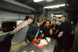 "A group of students tour the U.S. Army Corps of Engineers Nashville District mobile Emergency Command and Control Vehicle during the ""My Future, My Way"" Career Exploration Fair at two exhibits sponsored by the Metro Nashville Public schools Academies of Nashville and the Nashville Area Chamber of Commerce at Music City Convention Center Oct. 27, 2016."