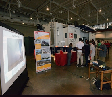 """NASHVILLE, Tenn. (Oct. 24, 2016) –Technical experts from the U. S. Army Corps of Engineers Nashville District prepared students for future STEM careers during the """"My Future, My Way"""" Career Exploration Fair at two exhibits sponsored by the Metro Nashville Public schools Academies of Nashville and the Nashville Area Chamber of Commerce at Music City Convention Center Oct. 27, 2016."""