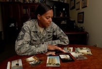 Chief Master Sgt. Meshelle Dyer, Air Force Mortuary Affairs Operations chief enlisted advisor, reflects back on the attack on the Khobar Towers 20 years later. At the time of the attacks, she was Senior Airman recreation specialist . (U.S. Air Force photo/ Capt. Andre Bowser)