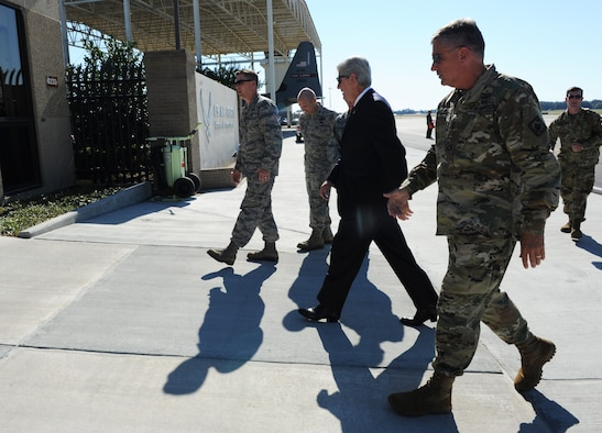 Mississippi Governor Phil Bryant walks to base operations, Oct. 25, 2016, on Keesler Air Force Base, Miss. During his visit at Keesler, Bryant received a 333rd Training Squadron cyber briefing and a windshield tour of the new entry gate project. (U.S. Air Force photo by Kemberly Groue/Released)