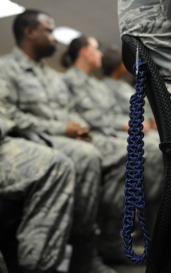 A blue rope hangs on a chair during a graduation ceremony at Lott Hall Feb. 11, 2016, Keesler Air Force Base, Miss. The first selected group of NCOs graduated the military training leader course after attending the nine-day class at Keesler. The program, formerly based out of Joint Base San Antonio-Lackland, Texas, is designed to mentor, train and lead Airmen in technical training as military training leaders. (U.S. Air Force photo by Kemberly Groue)