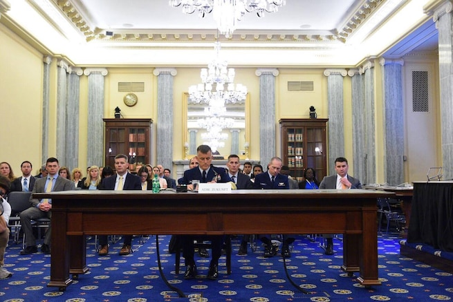 Coast Guard Commandant Adm. Paul Zukunft testifying at the 2017 fiscal-year Budget Hearing before the Senate Oversight Committee on Commerce, Science and Transportation.