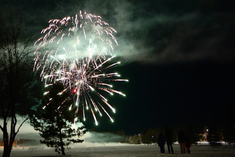 A small group of people watch a fireworks show at the end of the 2016 Fall Festival, Oct. 28, 2016, at Eielson Air Force Base, Alaska. The fireworks show lasted nearly 15 minutes and launched a variety of different fireworks. (U.S. Air Force photo by Airman Eric M. Fisher)