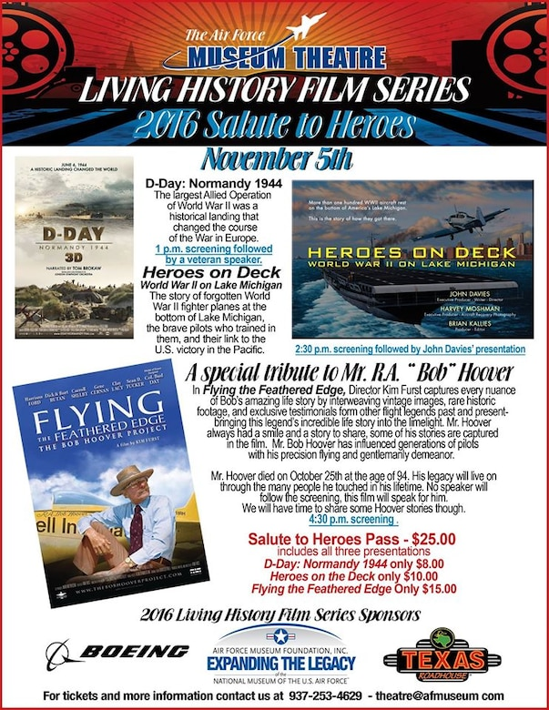 Air Force Museum Theatre-Living History Film Series-2016 Salute to Heroes