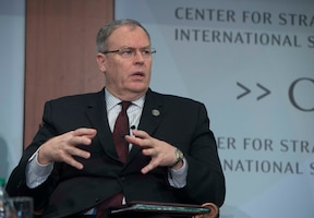 Deputy Defense Secretary Bob Work speaks at the Center for Strategic and International Studies about the Pentagon's third offset strategy in Washington, D.C., Oct. 28, 2016. DoD photo by Navy Petty Officer 1st Class Tim D. Godbee