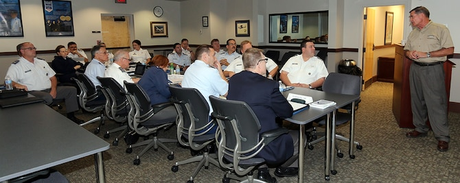 Fifteen of Civil Air Patrol's top commanders are gathered at National Headquarters this week for Wing Commanders College. Addressing the commanders (at right) is Gary Schneider, CAP's director of logistics and mission resources. (Courtesy photo)