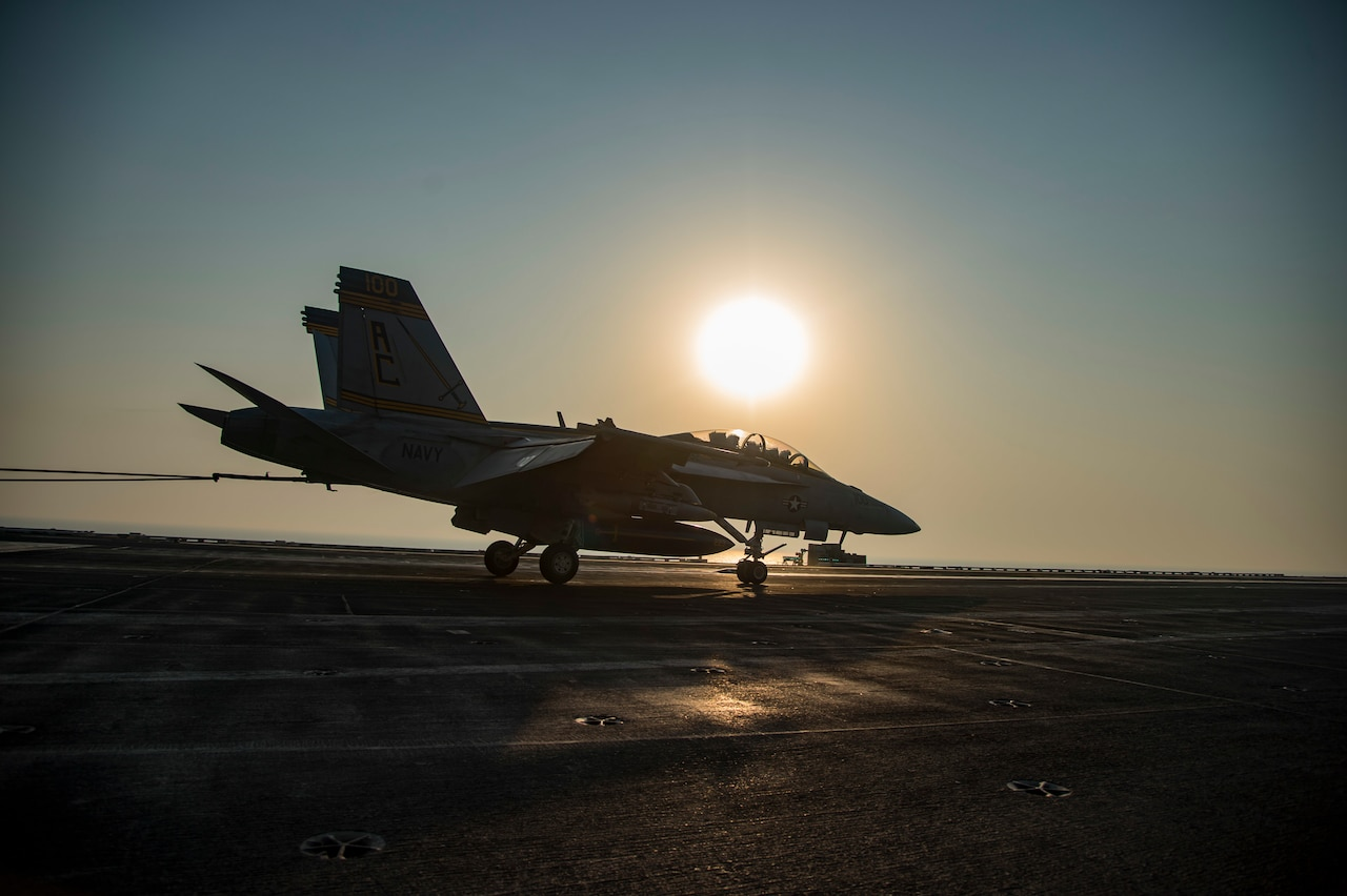 An F/A-18F Super Hornet assigned to the Fighting Swordsmen of Strike Fighter Squadron 32 makes an arrested landing on the flight deck of the aircraft carrier USS Dwight D. Eisenhower in the Persian Gulf, Aug. 27, 2016. Ike and its Carrier Strike Group are deployed in support of Operation Inherent Resolve, maritime security operations and theater security cooperation efforts in the U.S. 5th Fleet area of operations. Navy photo by Petty Officer 3rd Class Nathan T. Beard