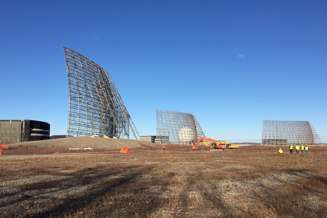 CLEAR AIR FORCE STATION, Alaska – A crew watches as cables are attached to the Ballistic Missile Early Warning System radar before demolition at Clear Air Force Station, Alaska, Oct. 18, 2016.  The radar was taken down and is being removed and recycled to make way for new construction. (Courtesy photo)
