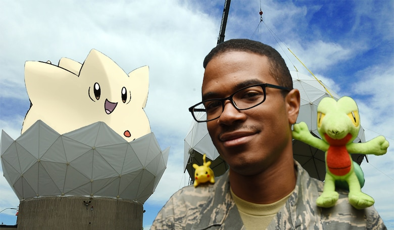 """Airman 1st Class Quintin Rice, 50th Force Support Squadron, is the first Airman to win the 50th Space Wing's Chaplain's Office's """"Pokémon challenge,"""" collecting all eight badges to become a """"Pokémon master."""" (U.S. Air Force graphic/1st. Lieutenant Darren Domingo)"""