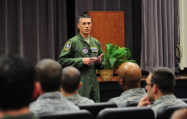 Col. Douglas Gosney, 14th Flying Training Wing Commander, speaks to Team BLAZE personnel during an all call Aug. 25 at Columbus Air Force Base, Mississippi. Gosney used to opportunity to introduce himself and his family. He then explained what he values most in people such as Integrity, Teamwork, Respect, Discipline, attention to detail, and loyalty. (U.S. Air Force photo/Staff Sgt. Stephanie Englar)
