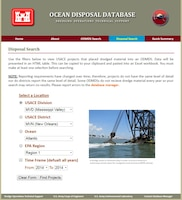 The Ocean Disposal Database website Disposal Search page features a way for the user to build a simple query to search disposal data at an Ocean Dredged Material Disposal Site.