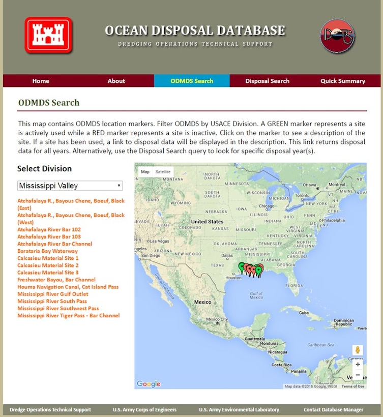 This shows the Ocean Disposal Database website Ocean Dredged Material Disposal Sites (ODMDS) search page that is used to search for ODMDS. Once a site is selected, basic information such as frequency of use, total volume of dredge material disposed, as well as a link to more detailed information about the site is displayed.