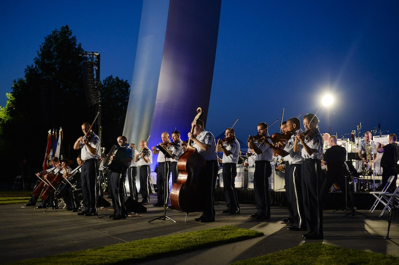 The U.S. Air Force Band performs in a public concert at the Air Force Memorial to honor Vietnam War veterans Aug. 26, 2016, in Arlington, Va. Prior to attending the concert, Air Force Undersecretary Lisa S. Disbrow and Chief of Staff Gen. Dave Goldfein welcomed Gen. Stephen W. Wilson as the service's new vice chief of staff at a reception in the Fort Myer Officer's Club. (U.S. Air Force photo/Tech. Sgt. Joshua L. DeMotts)