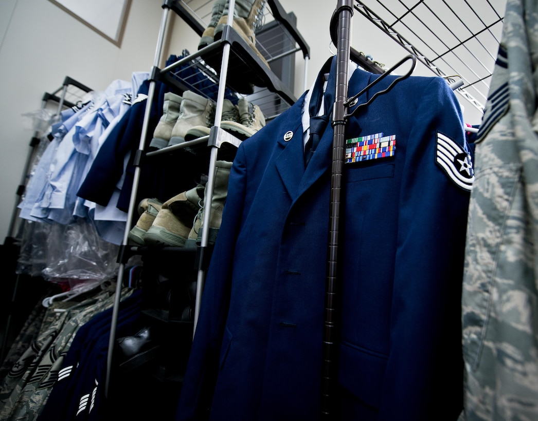 """Blues, BDUs and boots make up most of the stock available at the 919th Special Operations Wing's Airmen's Attic located in the MADD building at Duke Field, Fla.  Anyone interested in donating or in need of a uniform can visit the """"Attic"""" during duty hours when the building is open for business.  (U.S. Air Force photo/Tech. Sgt. Sam King)"""