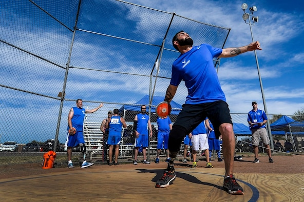 Retired Staff Sgt. Nicholas Dadgostar participates in the discus competition during a previous Warrior CARE event at Nellis Air Force Base, Nev. Team Offutt will host a Warrior CARE event, sponsored by the U.S. Air Force Wounded 