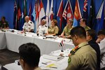 Senior U.S. and Australian army and navy officers lead a discussion with military signal officers from around the Indo-Asia Pacific region about communications interoperability and future trends in communications technology during a meeting at Exercise Pacific Endeavor 2016 in Brisbane, Australia, Aug. 30, 2016. DoD photo by Air Force Master Sgt. Todd Kabalan