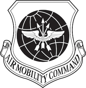 Air Mobility Command black and white logo.