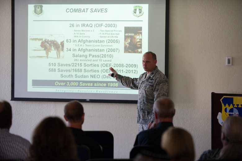 Col. Kurt Matthews, 920th Operations Group Commander, briefs members of the local clergy on the mission of the 920th Rescue Wing. The clergy were invited to learn about the 920th RQW and 45th Space Wing at Patrick Air Force Base to understand the spiritual needs of Air Force members who attend their congregations. (U.S. Air Force photo/Benjamin Thacker)