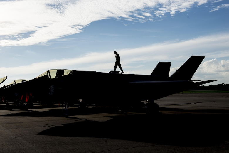 A 33rd Aircraft Maintenance Squadron Airman performs a maintenance inspection on an F-35A during Exercise Northern Lightning Aug. 30, 2016, at Volk Field, Wis. Northern Lightning is a joint total force exercise between the Air National Guard, Air Force and Navy conducting offensive counter air, suppression and destruction of enemy air defense and close air support. (U.S. Air Force photo by Senior Airman Stormy Archer)