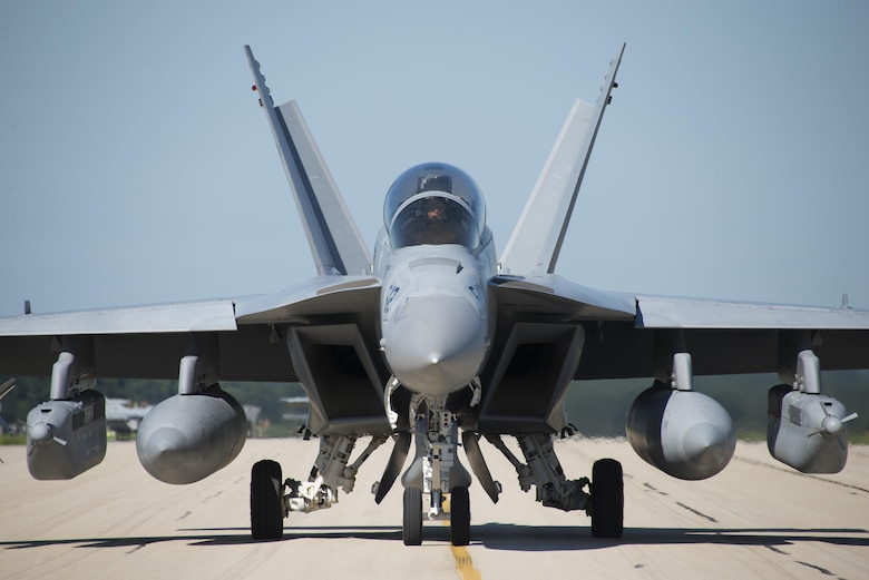 A 132nd Electronic Attack Squadron EA-18 Growler taxis down the flighline at Volk Field, Wis. during Northern Lightning Aug. 22, 2016. Northern Lightning is a tactical-level, joint training exercise that emphasizes fifth and fourth generation assets engaged in a contested, degraded environment. (U.S. Air Force photo by Senior Airman Stormy Archer)