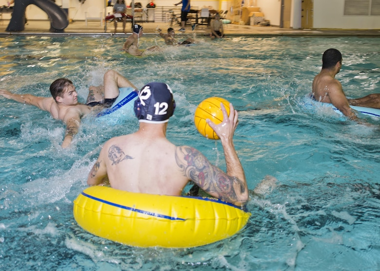 Team Minot Airmen compete in inner tube water polo during the Summer Games at Minot Air Force Base, N.D., Aug. 30, 2016. More than 300 Airmen competed in this year's Summer Games for the coveted Commander's Trophy. (U.S. Air Force photo/Airman 1st Class J.T. Armstrong)