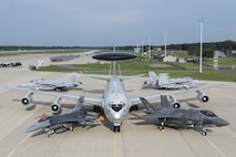An F-16 Fighting Falcon, E-3 Sentry, F-35A Lightning II, F/A-18 Super Hornet and an EA-18 Growler are set up in a static display Aug. 29, 2016, during Exercise Northern Lightning at Volk Field, Wis. Northern Lightning allowed all five of these aircraft the opportunity integrate and operate in a joint environment while performing counter air, suppression and destruction of enemy air defense and close air support in a contested environment. (U.S. Air Force photo by Senior Airman Stormy Archer)