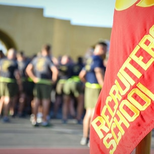 Marines Preparing for Physical Fitness Training prior to District Assignments.