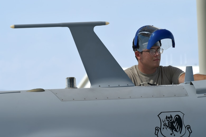 An MQ-1 Predator maintainer assigned to the 432nd Aircraft Maintenance Squadron, Tiger Aircraft Maintenance Unit inspects an MQ-1 Aug. 24, 2016, at Creech Air Force Base, Nevada. Maintainers from Tiger AMU have sustained the MQ-1 airframe at Creech since the early 2000's, when it was first weaponized to provide armed reconnaissance. (U.S. Air force photo by Airman 1st Class James Thompson)