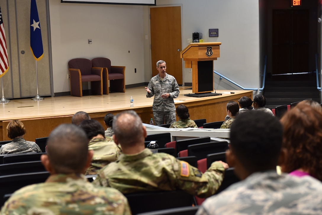 Brig. Gen. Tim Cathcart, director, National Guard Bureau Legislative Liaison office, speaks with National Guard Soldiers, Airmen and civilians during the General Officer Support Staff Course August 31, 2016, at the I.G. Brown Training and Education Center on McGhee Tyson Air National Guard Base in Louisville, Tenn. The course aids personnel in their assignments with high-ranking leaders through informative lectures and subject expertise on the workings of general officers' roles and staffs. (U.S. Air National Guard photo by Master Sgt. Mike R. Smith)