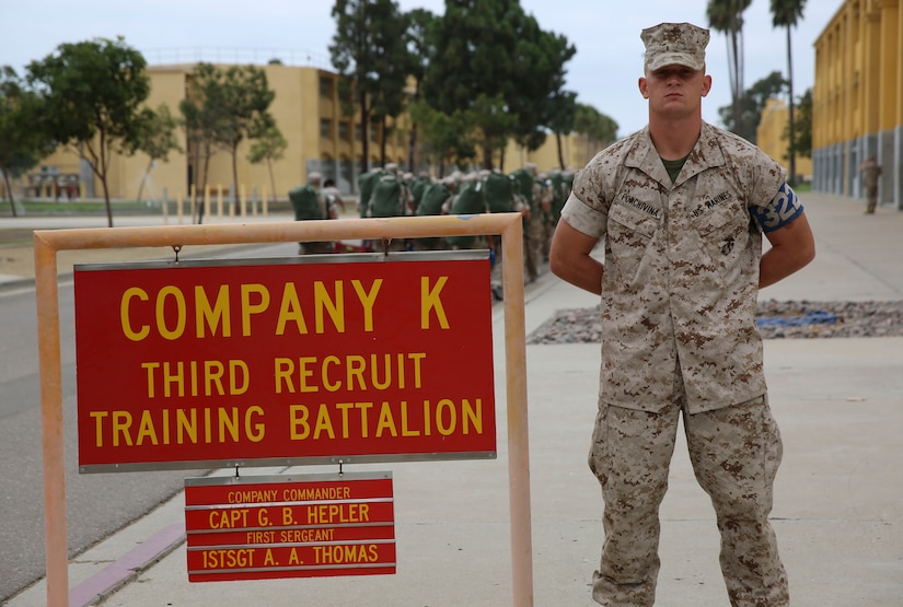 Lance Cpl. John R. Porchivina, Kilo Company, 3rd Recruit Training Battalion, stands outside his squad bay at Marine Corps Recruit Depot San Diego, Aug. 25. Porchivina served as his platoon's guide during recruit training. Following recruit training, Porchivina will report to the School of Infantry at Camp Pendleton, Calif., to become an infantryman
