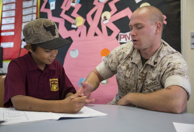 U.S. Marine Corps Cpl. Landis Lied, an embarkation and logistics specialist assigned to Marine Fighter Attack Squadron (VMFA) 122, helps a student with multiplication at MacFarlane Primary School in Katherine, Northern Territory, Australia, Sept. 1, 2016. Marines are invited to mentor and teach students every iteration of Southern Frontier, a three week unit level training conducted by U.S. Marines at Royal Australian Air Force Base Tindal. The primary school's student population is 92 percent indigenous and is very transient. Classes are designed to provide students structure and a consolidated education in literacy, numeracy, respect and behavior management. (U.S. Marine Corps photo by Cpl. Nicole Zurbrugg)