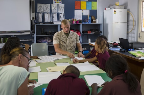 U.S. Marine Corps Cpl. Cody Braunscheidel, an aviation logistics information management systems specialist assigned to Marine Fighter Attack Squadron (VMFA) 122, explains multiplication to students at MacFarlane Primary School in Katherine, Northern Territory, Australia, Sept. 1, 2016. Marines are invited to mentor and teach students every iteration of Southern Frontier, a three week unit level training conducted by U.S. Marines at Royal Australian Air Force Base Tindal. The primary school's student population is 92 percent indigenous and is very transient. Classes are designed to provide students structure and a consolidated education in literacy, numeracy, respect and behavior management. (U.S. Marine Corps photo by Cpl. Nicole Zurbrugg)