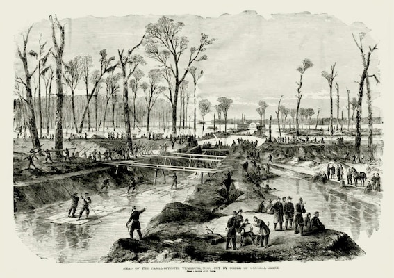 During the naval siege of Vicksburg, Brig. Gen. Thomas Williams put his men to work with pick and shovel to excavate a canal across the base of De Soto Point, opposite Vicksburg, in a failed effort to bypass Confederate batteries.
