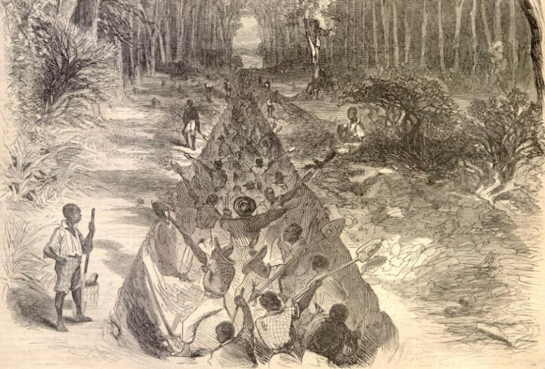 To augment his dwindling work force, Williams pressed into service more than 1,200 slaves from local plantations. The oppressive conditions under which they worked quickly brought their effort to a halt.