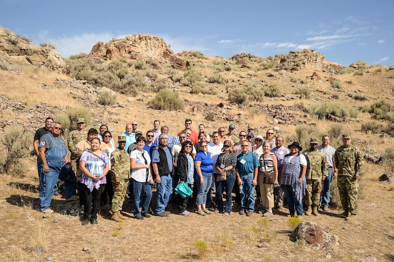 Attendees of the 2016 Annual American Indian Meeting pose for a group photo after a guided tour of a petroglyph site in Box Elder County, Utah, Aug. 26, 2016. (U.S. Air Force photo by R. Nial Bradshaw)