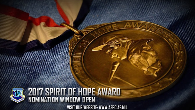 The Spirit of Hope Award is named in honor of Bob Hope and is presented for outstanding service to the United States of America. Nominations are due to the Air Force Personnel center by Feb. 20, 2017. (U.S. Air Force graphic by Staff Sgt. Alexx Pons)