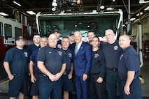 U.S. Vice President Joe Biden poses for a photo with 910th Airlift Wing firefighters here, Sept. 1, 2016. Biden landed here aboard Air Force Two before departing for business in the Valley. (U.S. Air Force photo/Eric White)