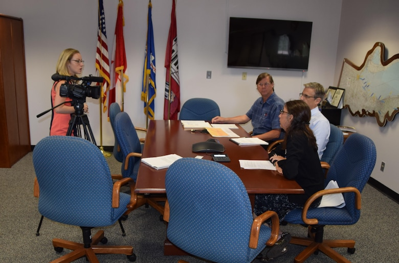 USACE Buffalo District staff members Laura Ortiz, Paul Cocca, and Bob Remmers met with reporter Erica Brecher from WGRZ, Channel 2 on Wednesday, August 31 to discuss the role of the Corps in the multiagency flood mapping effort involving the Smokes Creek Flood Control Project in Lackawanna, NY.
