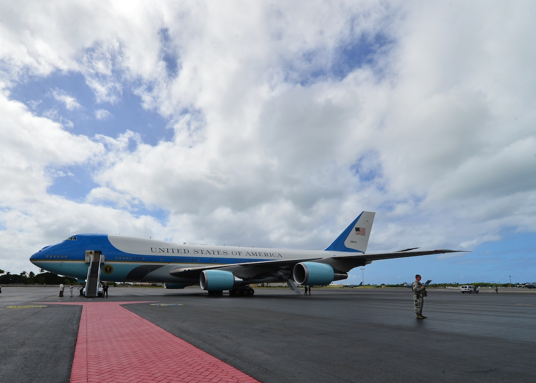 VC-25A, Air Force One, is prepped for takeoff from Joint Base Pearl Harbor-Hickam, Hawaii, Sep. 2, 2016. President Barack Obama was in Hawaii to speak at the Pacific Island Conference of Leaders and the International Union for Conservation of Nature World Conservation Congress. (U.S. Air Force Photo by Tech. Sgt. Aaron Oelrich/Released)
