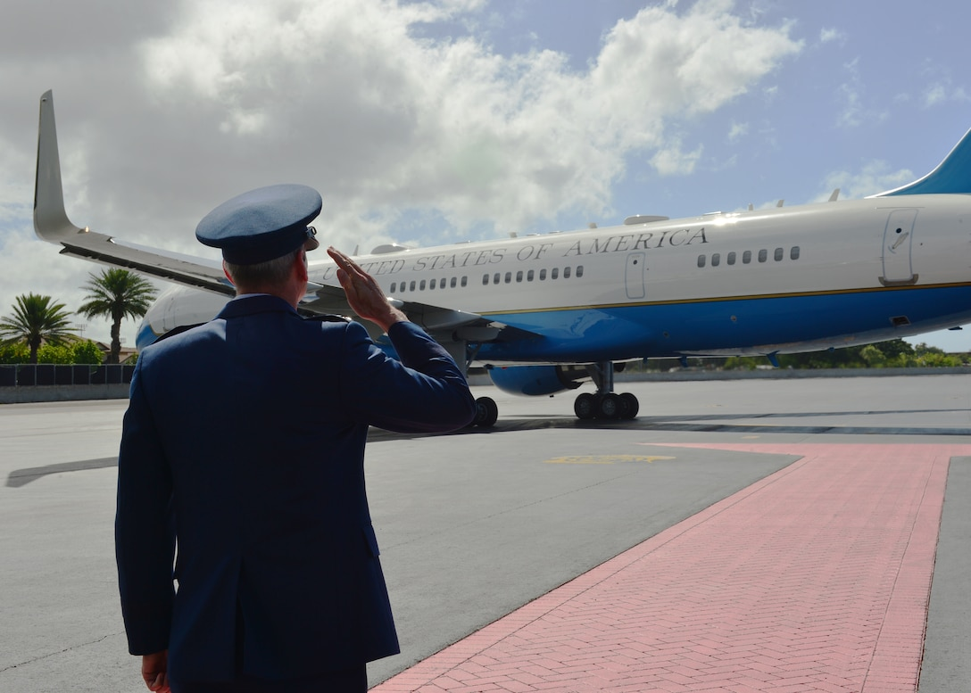 Gen. Terrence O'Shaughnessy, Pacific Air Forces commander, salutes Air Force One as it taxis on Joint Base Pearl Harbor-Hickam, Hawaii, Sep. 1, 2016. President Barack Obama was in Hawaii to speak at the Pacific Island Conference of Leaders and the International Union for Conservation of Nature World Conservation Congress. President Obama departed JBPHH on his way to Midway Atoll. (U.S. Air Force Photo by Tech. Sgt. Aaron Oelrich/Released)