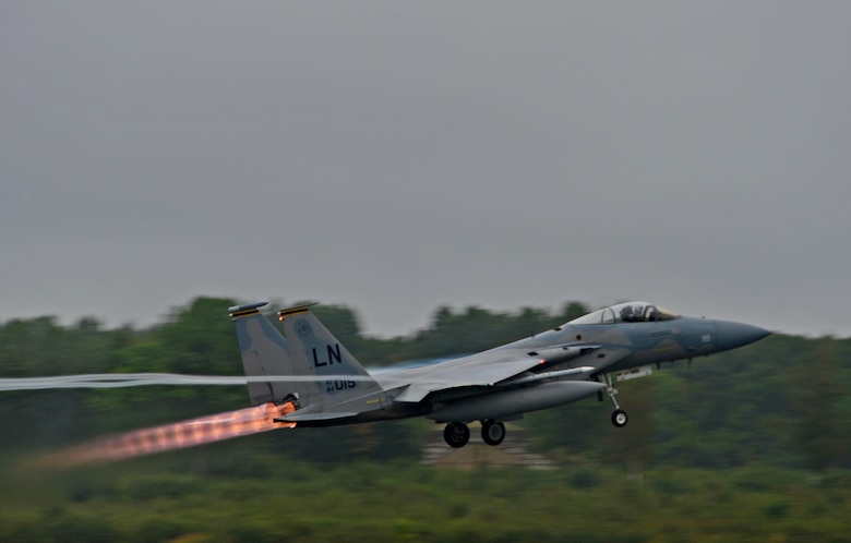 A 493rd Fighter Squadron F-15C Eagle takes off from Ämari Air Base, Estonia, Aug. 30, 2016. The squadron flew alongside the 194th Expeditionary Fighter Squadron assigned to the California Air National Guard in Fresno while participating in a flying training deployment with several allied nations and partners. The 493rd is assigned to Royal Air Force Lakenheath, England. (U.S. Air Force photo by Senior Airman Erin Trower/Released)