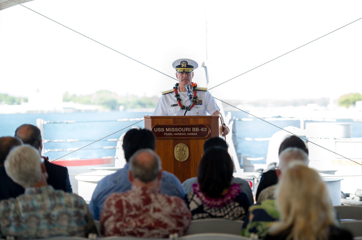 160902-N-LY160-135 PEARL HARBOR (September 2, 2016) - Rear Adm. Fritz Roegge, commander, Submarine Force U.S. Pacific Fleet, addresses guests during a ceremony marking the 71st anniverary of the end of World War II aboard the Battleship Missouri Memorial in Pearl Harbor. The annual ceremony pays tribute to service members who served and sacrificed during the war. (U.S. Navy photo by Mass Communication Specialist 2nd Class Michael H. Lee)