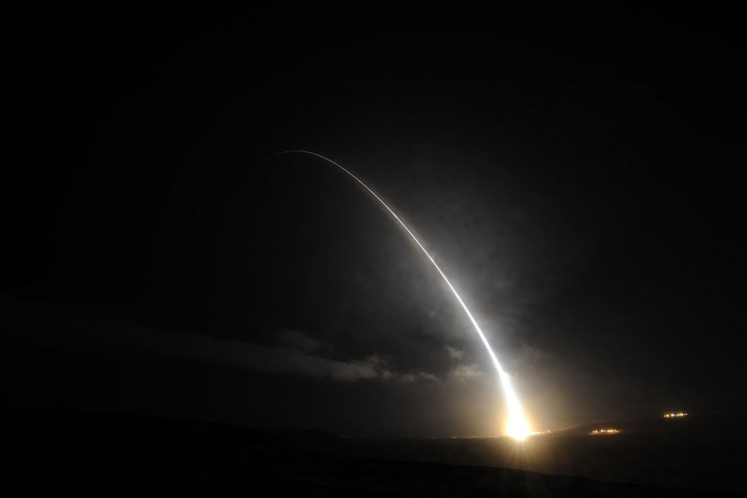 An unarmed Minuteman III intercontinental ballistic missile launches during an operational test at 2:10 a.m. Pacific Daylight Time Monday, Sept. 5, 2016, Vandenberg Air Force Base, Calif. (U.S. Air Force photo by Michael Peterson)