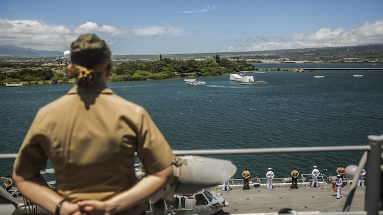 U.S. Marines and Sailors with the 13th Marine Expeditionary Unit and Boxer Amphibious Ready Group man the rails aboard the USS Boxer, Joint Base Pearl Harbor-Hickman Pier, August 29, 2016. The 13th MEU, embarked on the Boxer Amphibious Ready Group, is operating in the U.S. 3rd Fleet area of operations in support of security and stability in the Pacific region.