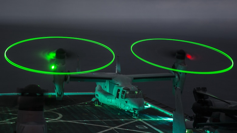 A U.S. Marine MV-22 Osprey does a functions check during WESTPAC 16-2 aboard the USS New Orleans, at Sea, Feb. 16, 2016. Following its development as the world's first production tilt-rotor aircraft, the MV-22B has not only emerged as a safe and reliable aircraft, with 242 operating around the globe today, but continues to transform the way the Marine Corps conducts assault support.