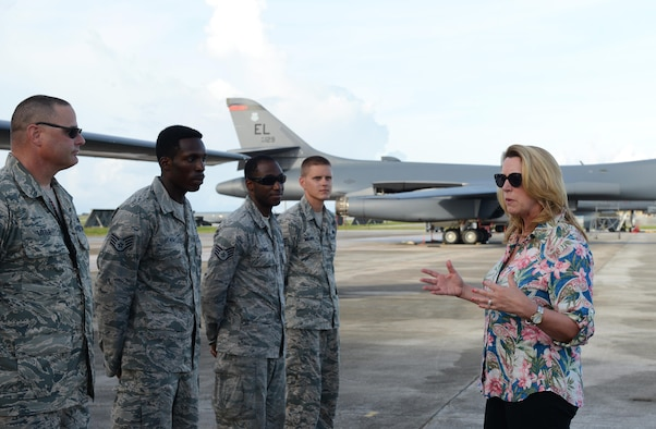 Secretary of the Air Force Deborah Lee James talks with B-1B Lancer maintainers during a visit Aug. 30, 2016, at Andersen Air Force Base, Guam. James wrapped up an 11-day trip visiting various partners throughout the Indo-Asia-Pacific region. (U.S. Air Force photo by Airman 1st Class Arielle Vasquez/Released)