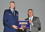 Lt. Gen. Andy Busch presents FEMA Deputy Administrator Joseph Nimmich a certificate of appreciation.